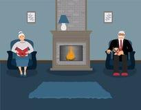 Un par de personas mayores se están sentando por la chimenea en una sala de estar azul acogedora hermosa libre illustration