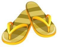 Un par de sandalias amarillas stock de ilustración