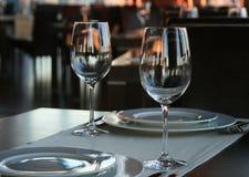 Un par de vidrios de vino Fotos de archivo libres de regalías