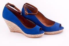 Un par de zapatos azules de la plataforma Fotos de archivo libres de regalías