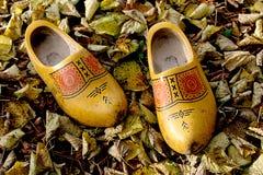 Un par de zapatos de madera holandeses en las hojas de otoño Fotografía de archivo libre de regalías