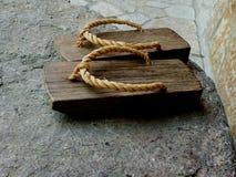 Un par del japonés de madera geta Foto de archivo libre de regalías