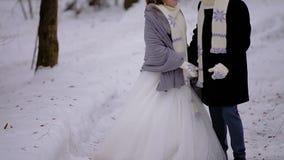 Un par en amor está caminando a través de amantes nevosos de un bosque del invierno está llevando las bufandas calientes Un hombr almacen de video