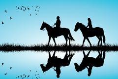 Un par en un paseo del caballo ilustración del vector