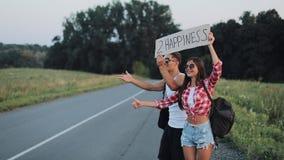 Un par joven está haciendo autostop la situación en el camino Un hombre y una mujer parar el coche en la carretera con una muestr metrajes