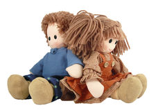Un par. Muñeca de trapo Fotos de archivo