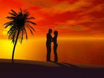 Un par que se abraza en la puesta del sol. Ilustración del Vector