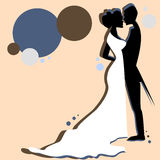 Un par retro de la boda del estilo Stock de ilustración