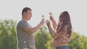 Un par romántico que sopla un manojo de dientes de león en el verano en un prado en el sol Amor feliz junto metrajes