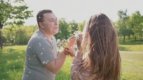 Un par romántico que sopla un manojo de dientes de león en el verano en un prado en el sol feliz junto metrajes