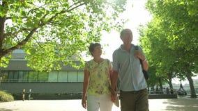 Un par turístico caucásico mayor activo que caminaba en Londres hizo excursionismo por el sol almacen de video