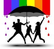 Un paraguas, silueta protege a la familia Propaganda, bandera de LGBT stock de ilustración