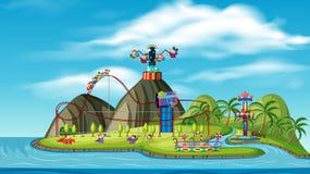 Un parco di divertimento sull'isola illustrazione vettoriale
