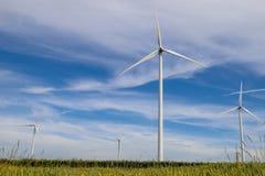 Un parco eolico in un campo nella campagna Fotografia Stock Libera da Diritti