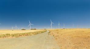 Un parco eolico con cielo blu in California fotografia stock