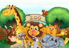 Un parque zoológico y los animales ilustración del vector