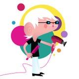 Un parrucchiere cartoony che tiene un hairdryer e un pettine illustrazione di stock