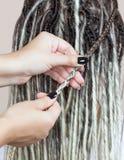 Un parrucchiere tesse i dreadlocks ad una bella ragazza immagini stock