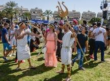 Un partito di via di Purim a Tel Aviv Israele Immagini Stock