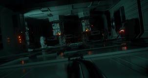 Un paseo alrededor de una nave espacial futurista/de la ciencia ficción stock de ilustración