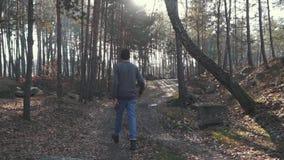 Un paseo del hombre en el bosque del beautil con un hacha en sus manos Silvicultor con un hacha al aire libre almacen de metraje de vídeo