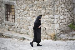 Un paseo en el pueblo de Spanochori Foto de archivo libre de regalías