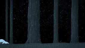 Un paseo en un bosque congelado Nevado con la historieta animada de los árboles