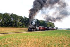 Un passaggio dei due treni del vapore Fotografia Stock