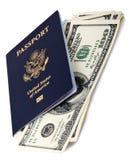 Passeport et argent liquide des Etats-Unis Photographie stock libre de droits
