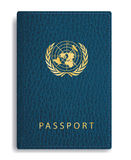 UN passport. Vector blue leather passport cover with united nations sign, abstract composition with UN sign vector illustration