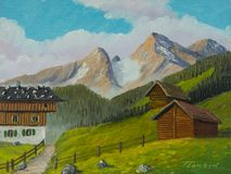 Un pasto de la montaña en las montañas y dos graneros al lado de él stock de ilustración