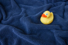 Un pato de goma amarillo en la toalla ondulada azul imagen de archivo