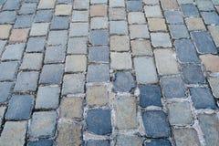 Un pavimento cobblestoned antiguo de la ciudad Fotografía de archivo