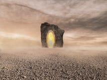 Un paysage abandonné de l'au-delà avec un portail gigantesque photographie stock libre de droits