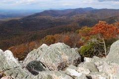 Un paysage de chute de montagne avec les arbres colorés Photos stock
