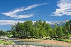 Un paysage de montagne un jour ensoleillé d'été avec une rivière Photos stock