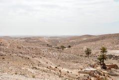 Un paysage sec de désert un jour nuageux Photographie stock
