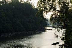 Un paysage a tiré d'une rivière passant par une forêt Images libres de droits