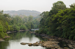 Un paysage a tiré d'une rivière passant par une forêt Photo stock