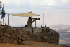 UN Peacekeeper on Mount Bental. Golan Heights Stock Images