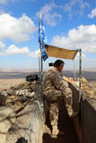 UN Peacekeeper on Mount Bental in the Golan Heights Stock Photo
