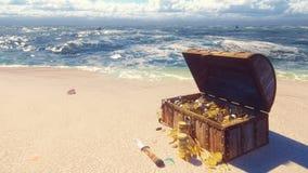 Un pecho de madera abierto del pirata llenado de las monedas y de los diamantes de oro miente en la orilla de una isla tropical p almacen de metraje de vídeo