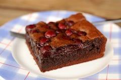 Un pedazo de brownie de la cereza Foto de archivo libre de regalías
