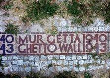 Un pedazo de la pared del ghetto de Varsovia imagen de archivo libre de regalías