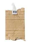 Un pedazo de papel de crespón marrón de la textura rasgón-vertical Foto de archivo