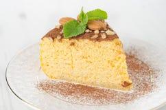 Un pedazo de primer del pastel de queso de la calabaza Imagen de archivo libre de regalías