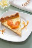 Un pedazo de tarta de la fruta cítrica con el pájaro del ánimo anaranjado Imágenes de archivo libres de regalías