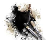 Donna della pittura con il pennello artistico Immagini Stock Libere da Diritti