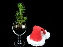 Un pequeño árbol de navidad con un casquillo de Santa Claus Fotografía de archivo libre de regalías