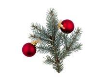 Un pequeño árbol de navidad se adorna con bolas rojas y una cinta de oro Aislado en blanco Fotografía de archivo libre de regalías